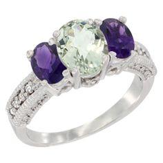 Silvercity La - 14K Yellow Gold Diamond Jewelry - 3 Stone Rings - Green Amethyst - Afford Price: Contact Us