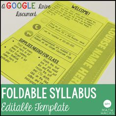 Editable Syllabus    1 Page, 1 Fold! Perfect For Secondary Teachers Who Want