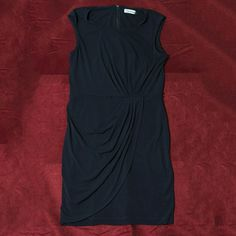 #97: $25 – Calvin Klein Navy Twilight Draped Dress – Size 12 – Gorgeous layering and draping at hip. Zippered back.