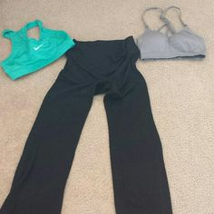 Yoga pants and sports bra combo Willing to seperate per request. But would have to be $3-5 each.  Given to me by somone who proved to not be a friend and I cleanse after stuff like that.  Nike bra never worn (nike) grey padded bra worn once (athletic essentials) Yoga pants worn once (Gap fit) Nike Intimates & Sleepwear