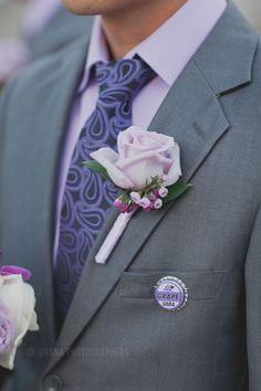 Disney Up theme wedding // Groomsmen boutonniere grape soda ellie badge