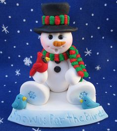Jewelry and jewelry making, metal smiting, polymer clay. Christmas Cake Designs, Christmas Cake Topper, Snowman Cake, Cute Snowman, Snowmen, Christmas Wood, Christmas Snowman, Christmas Ornaments, Clay Art Projects