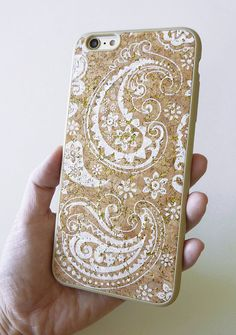 For Apple Iphone 6 Plus 5.5 White with Gold Glitter Paisley hand painted designer print DIY Unique smartphone cellphone phone case faceplate made by Yunikuna