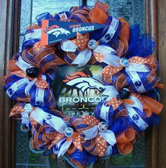 Denver Broncos Wreath  Ready to Ship by LadybugsWreaths on Etsy, $80.00