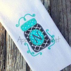 Machine Embroidery Design Applique Mason Jar INSTANT DOWNLOAD