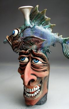 Mitchell Grafton - Fish Balancing Face Jug Ceramic Sculpture