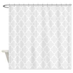 Light Grey Quatrefoil Shower Curtain on CafePress.com