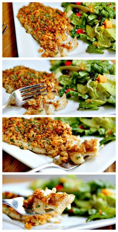 Seasoned tilapia topped with a golden, parmesan-breadcrumb crust! This baked parmesan tilapia recipe is company worthy but weekday friendly! Cut mustard in half and go easy with bay seasoning. Tilapia Recipes, Fish Recipes, Seafood Recipes, Cooking Recipes, Healthy Recipes, Recipies, Baked Parmesan Tilapia, Breaded Tilapia, Crusted Tilapia