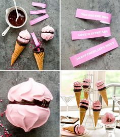 """These meringue cookie cones are so neat! Rather than using fortunes, you could have inspiring messages like, """"Everyone deserves a lifetime"""" or """"We can cure it"""". Full article at www.brendasweddingblog.com"""