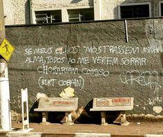 Jordanésia, SP. Foto de Rodrigo Araujo. #olheosmuros #artederua #arteurbana #jordanesia #sp #pixo #nirvana #kurtcobain #poesiaderua https://www.instagram.com/p/BMm1HNrBEY-/