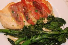 Chicken wrapped in prosciutto with broccolini a la www.westchesterfoodie.com