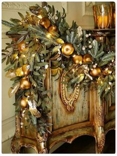 Frosted Gold Christmas Garland at Neiman Marcus. Christmas Fireplace, Christmas Mantels, Noel Christmas, All Things Christmas, Christmas Wreaths, Christmas Crafts, Christmas Ornaments, Christmas Design, Christmas Villages