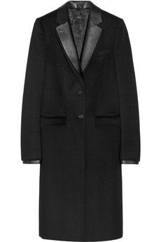 Joseph Dakota leather-trimmed wool and cashmere-blend coat | NET-A-PORTER