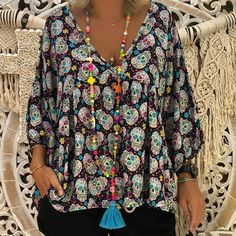 Looking for Plus Size Women Skull Print V Neck Blouse Sleeve Loose Casual Halloween Tops ? Check out our picks for the Plus Size Women Skull Print V Neck Blouse Sleeve Loose Casual Halloween Tops from the popular stores - all in one. Tee Shirt Rouge, T Shirt Noir, Pumpkin Outfit, Casual T Shirts, Women's Casual, Blouse Styles, Printed Blouse, Floral Blouse, Black Blouse