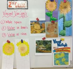 Grade artists were introduced to the artist Vincent VanGogh. We noticed how he painted with brighter colors, showed his brushstro. Fall Art Projects, Classroom Art Projects, Art Classroom, Elementary Art Rooms, Art Lessons Elementary, 2nd Grade Art, Second Grade, Grade 2, Jamestown Elementary
