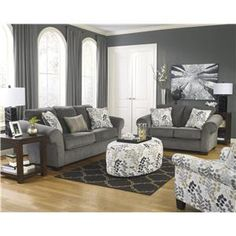 Signature Design by Ashley Makonnen - Charcoal Queen Sofa Sleeper with Large Rolled Arms and 2 Seat Cushions - Lapeer Furniture & Mattress C...