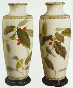 Pair of Imperial presentation cloisonne vases, worked in gold wires with silver rims and feet. Height 44cm. Made by Ando Jubei.