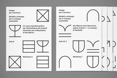 Davide Di Gennaro, graphic designer freelance worked on the the identity for the Design Workshop week at San Marino University. via Visual Journal Flyer Design, Icon Design, Print Design, Poster Layout, Poster S, Geometric Font, Minimal Web Design, Branding, Book Design Layout