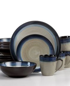 Gibson Dinnerware, Couture Bands Blue 16 Piece Set - Casual Dinnerware - Dining & Entertaining - Macy's