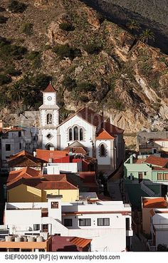 Spain  Canary Islands  La Gomera  Vallehermoso  View of san juan bautista church