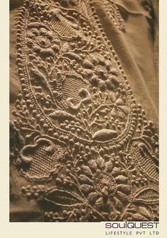 Paisley rendered in chikankari