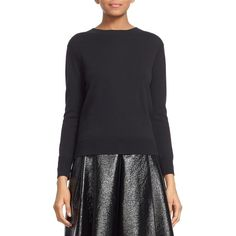 MARC JACOBS Back Button Detail Merino Wool Sweater (€440) ❤ liked on Polyvore featuring tops, sweaters, black, jeweled sweater, merino top, marc jacobs sweater, button sweater and marc jacobs