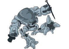ED209 from Robocop entertains.