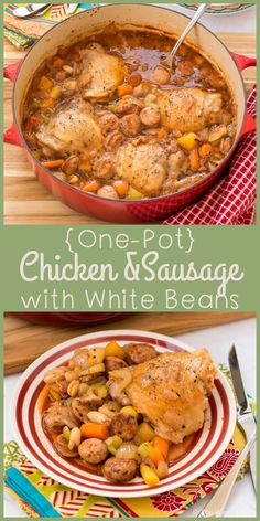 Pull up a chair to enjoy this hearty, savory, delicious One Pot Chicken with Sausage and Beans! (Inspired and sponsored by Better Homes and Gardens)