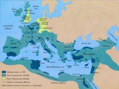 Map that shows the spread of Christianity throughout the Roman Empire (40 maps that explain the Roman Empire - Vox)