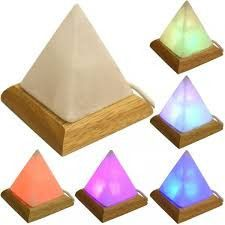 Yogavni Himalayan Salt, Hand Crafted Pyramid Shape USB Plug Lamp with Rotating Colour LED Bulb, Tall, Multicolor in Table Lamps.