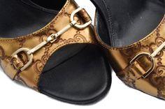 Gucci Gold Guccissima Leather Horsebit Mule Heels 37.5