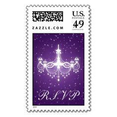 Elegant Wedding RSVP Sparkling Chandelier Purple Postage Stamp