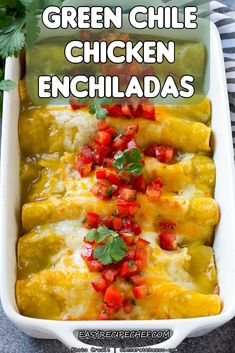 Green Chile Chicken Enchiladas with sour cream and cheese, make one of the best Mexican dishes healthy and delicious dish ideal for any holiday or event Healthy Dishes, Tasty Dishes, Healthy Recipes, Delicious Recipes, Easy Recipes, Healthy Eats, Healthy Snacks, Easy Mexican Dishes, Mexican Food Recipes