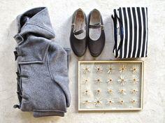 duffle coat and stripes