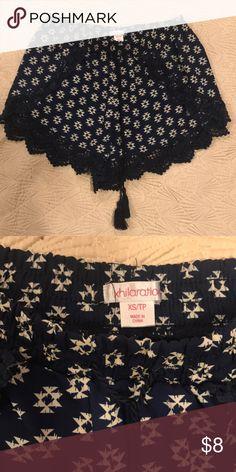 Aztec pattern cute mini shorts Navy blue  Cute crochet edges  Size x small  It don't fit my booty 😂☺️ Xhilaration Shorts