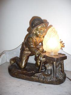 Beautiful antique French spelter lamp signed Ranieri circa