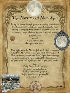 The Mirror and Moon Spell for Homemade Halloween Spell Book. Witchcraft Spell Books, Witch Spell Book, Halloween Spell Book, Halloween Spells, Moon Spells, Magick Spells, Wicca Witchcraft, Witchcraft Spells For Beginners, Tarot