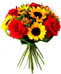 bouquet de rosas vermelhas com girassol - Pesquisa Google
