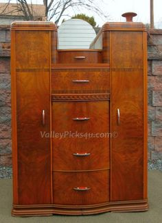 EXCEPTIONAL Vintage Art Deco Armoire Clothing Bedroom by picks4u, $725.00
