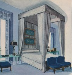 Interior by Billy Baldwin in House & Garden, Sept. 1948.  Drawing by Sheridan Kettering via The Peak of Chic