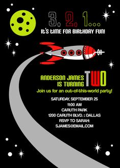 printable space themed birthday party invitation by chachkedesigns