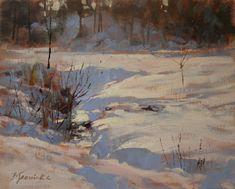 "Daily Paintworks - ""Hidden Stream"" - Original Fine Art for Sale - © Barbara Jaenicke Winter Painting, Winter Art, Winter Pastels, Oil Painting Tips, Landscape Paintings, Landscapes, Oil Paintings, Daily Painters, Snow Scenes"