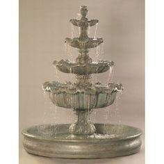 "Italian 4-Tier Outdoor Water Fountain with 74 "" Basin"