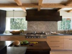 Japanese country kitchen with a beautiful balance of dark and light wooden tones
