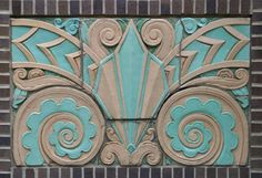 The plaque describing these two Art Deco style relief sculptures incorrectly ind. - The plaque describing these two Art Deco style relief sculptures incorrectly indicate that they cam - Art Deco Design, E Design, Art Nouveau Tiles, Art Deco Stil, Art Deco Buildings, Art Deco Pattern, Reno, Art Deco Fashion, Geometric Shapes