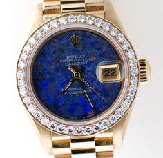 Rolex Ladies President 69178 Watch, Yellow Gold, Blue Color Diamond Dial &Bezel  #Rolex #Casual