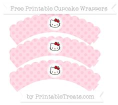 Free Pink Polka Dot  Hello Kitty Scalloped Cupcake Wrappers