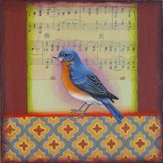 Painting, bluebird, bird, art, music, pattern   www.rachelpaxton.com