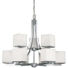 Glomar 9-Light Polished Chrome Two Tier Chandelier with Satin White Glass Shade-HD-4089 at The Home Depot $660