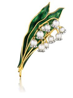 """""""Verdura's 1956 Lily of the Valley brooch with pearls and diamonds © Verdura."""" (quote)"""